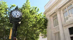 City clock and building from the street. Stock Footage