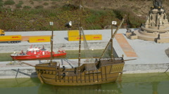 A wooden ship from Barcelona displayed at the Mini-Europe, Brussels Stock Footage