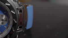Extreme Close Up of a mens chronograph watch. Stock Footage