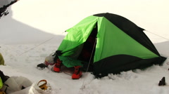 Climbers Tent In High Mountains. Stock Footage