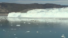 Pan along a glacier panorama in Greenland in the Arctic Stock Footage