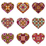 Valentine's Day cards with a flower pattern, isolate. - stock photo