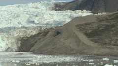 Pan from glacier moraine to glacier front Stock Footage
