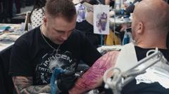 Intricate Sleeve Tattoo Stock Footage