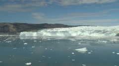 Zoom in from glacier panorama to high glacier wall Stock Footage