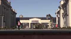 Soldiers passengers are on the platform station. In The city of Brest, Belarus Stock Footage