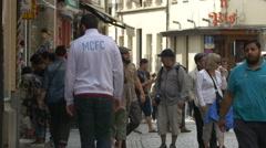 Tilt up view of Rue de l'Etuve in Brussels Stock Footage