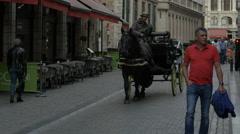 Coachman driving a carriage on Rue de l'Etuve in Brussels - stock footage