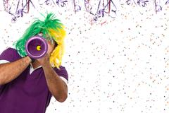 Brazilian Carnival with a horn - stock photo