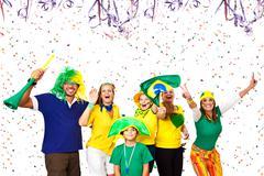 Brazilian friends enjoying Carnival time - stock photo