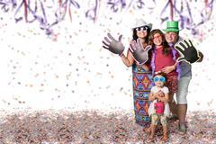 Brazilian family at Carnival party - stock photo