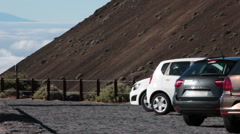 Car parking place with viewing point is on the road TF-38. Tenerife, Canaries Stock Footage