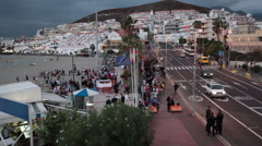 Top view of Las Vistas beach with crowd of artists and visitors at celebration - stock footage