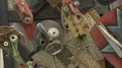 Close up view of Cinema Nova's robots sculptures in Brussels - stock footage