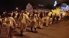 Dancing beautiful women in tunics take part in the Cavalcade of Magi, Tenerife Stock Footage