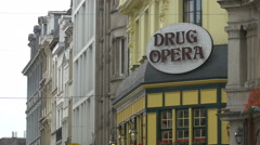 Drug Opera restaurant sign in Brussels Stock Footage