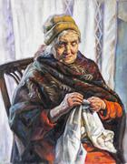 Oil portrait of a grandmother who sews. Stock Illustration