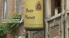 Beer planet store's bottle in Brussels Stock Footage