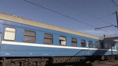 Train cars passing by. In The city of Brest, Belarus Stock Footage