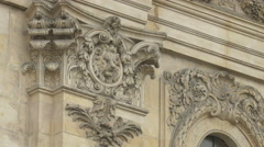 Lion bas relief on a building in Brussels Stock Footage
