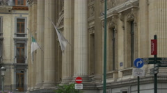 Side view of Brussels Stock Exchange building Stock Footage