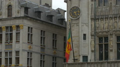 The City Hall's Clock tower in Grand Place, Brussels Stock Footage
