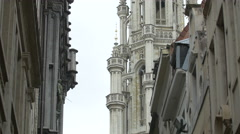 The City Hall's tower seen from Rue Chair et Pain in Brussels Stock Footage