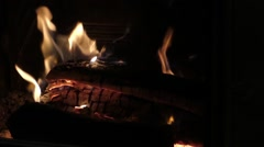 Fire in fireplace in the real time. - stock footage