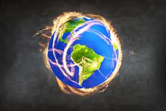 Burning Earth as a symbol of apocalypse - stock photo