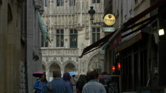 The City Hall's tower seen from Rue Chair et Pain in Brussels - the capital of t Stock Footage