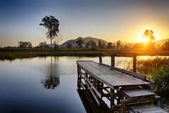 Serene Sunrise over fishing Jetty Stock Photos