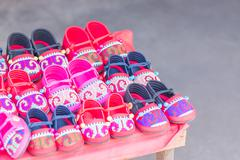 HMONG Handmade Hill Tribe Children's Shoes - stock photo