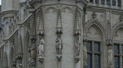 Statues on the City Hall building in Brussels Stock Footage