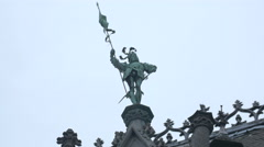 Statue decorating the City Museum, located in Grand Place, Brussels Stock Footage