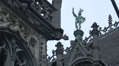 Low angle of a statue decorating the City Museum in Grand Place, Brussels Stock Footage