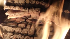Fire in fireplace in the real time. Close up shot. Stock Footage