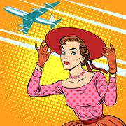 Woman airport journey - stock illustration