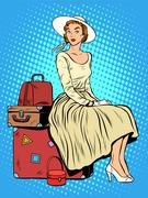 girl passenger baggage travel trip - stock illustration