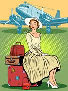 Woman passenger airport baggage Stock Illustration