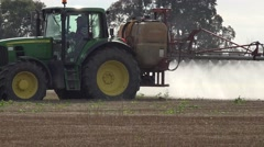 Vehicle spray agriculture field prepare it to plant wheat on farm. Panorama. 4K - stock footage