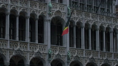 Belgium flag waving on the Brussels City Museum building Stock Footage