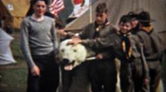 1945: Boyscouts posing with stuffed dead polar bear mounted head. Stock Footage