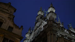 Low angle view of Brussels City Museum at night Stock Footage
