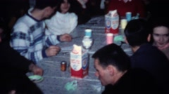 1962: Milk cartoons on every table ice cream social cookie party. Stock Footage