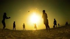 Summer beach fun volleyball play, 4K Stock Footage