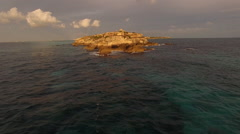Aerial Mexico Sunrise Island Coast Mayan Temple 04 Fly Over Stock Footage