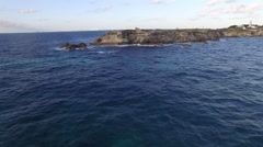 Aerial Mexico Sunrise Island Coast Mayan Temple 05 Fly Over Stock Footage