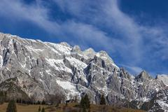 Panoramic view of idyllic winter wonderland with mountain tops in the Alps on - stock photo