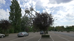 The famous Atomium seen from a parking lot in Brussels Stock Footage
