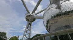 Low angle view of the Atomium particles and its outside staircase in Brussels Stock Footage